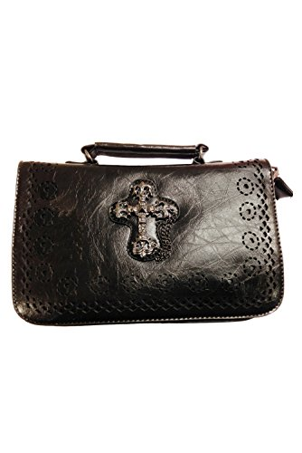 BBN794 colore CROSS Ladies Bag nero GOTHIC Banned Borsa Owq1z