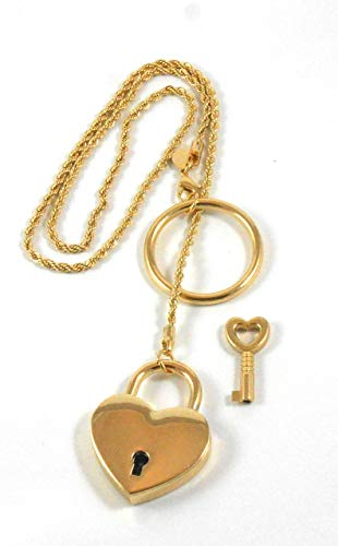 14K day collar Necklace Locking PURE GOLD plated twisted chain Day Collar Heart Padlock and key for women girl Bridal birthday Gift