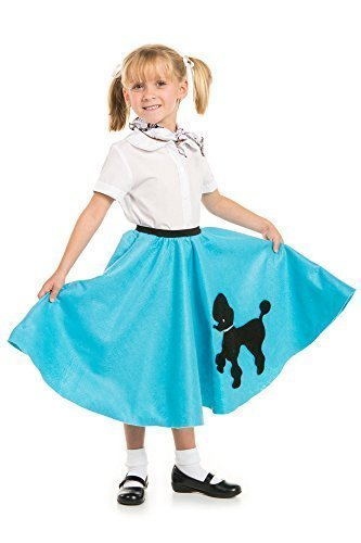 Poodle Skirt with Musical Note printed Scarf Turquoise by Kidcostumes - Turquoise Poodle Skirt