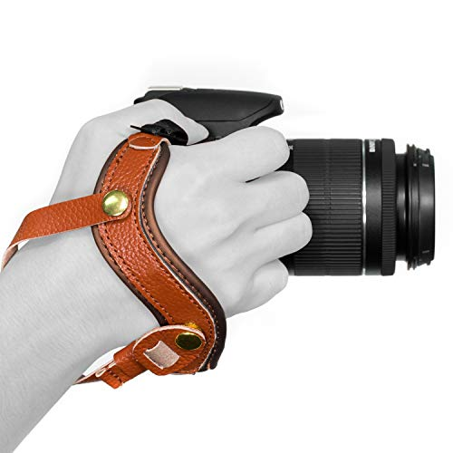 Megagear MG897 Genuine Leather Wrist Strap Comfort Padding, Enhanced Hand Grip Stability and Security for All Cameras (SLR/DSLR) One Size Fits All, Brown