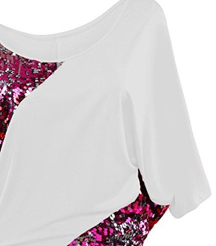 NiSeng Mujeres Camiseta Irregular Lentejuelas De manga Corta Cuello Redondo T-shirt Cuello De Barco Suelta Camisa Casual Tops Blanco