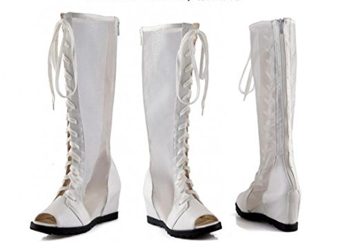 Parte 5cm White Alto Señora 36 Sunscreen Cool Zipper Compras Xie Boca Net White Pescado 38 Volver Zapatos Barril Aumento De Botas Sandalias Interno 6 qFxHRTf