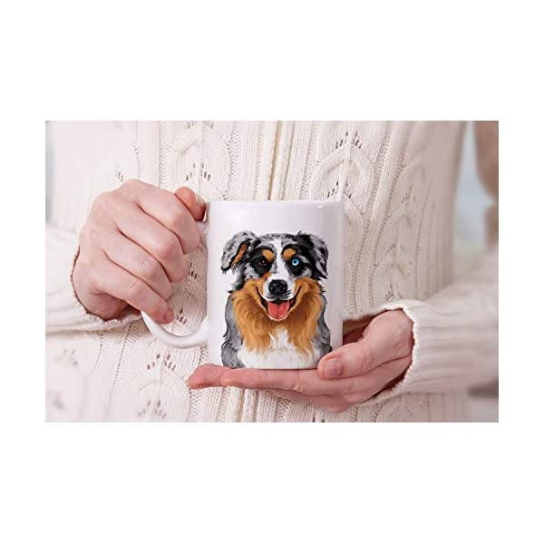 MUGBREW Cute Merle Aussie Australian Shepherd Dog Full Portrait Ceramic Coffee Gift Mug Tea Cup, 11 OZ 7