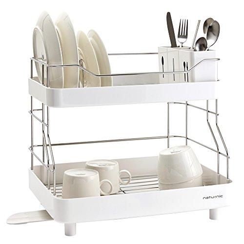 2 Tier Kitchen Sinkware Dish Rack, Dish Drying dish rack, Stainless Steel, Large