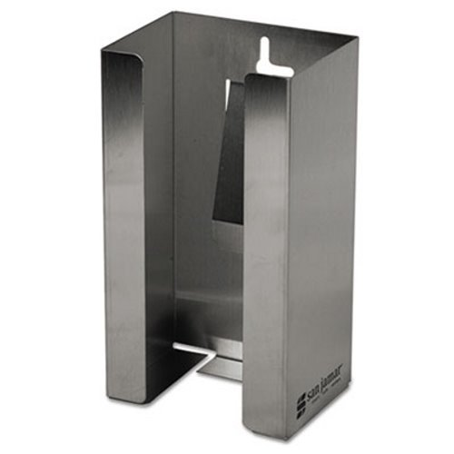 (San Jamar G0801 Stainless Steel Disposable Glove Dispenser, Single-Box, 5 1/2w x 3 3/4d x 10h)