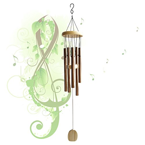 """29"""" Classic Aluminum Wind Chimes, Amazing Grace Wind Chime, 5 Aluminum Alloy Tube and Wood Design, Durable and Hand Tuned, Inspirational Music Collection for Outdoor Patio Backyard Home Decor, Bronze"""