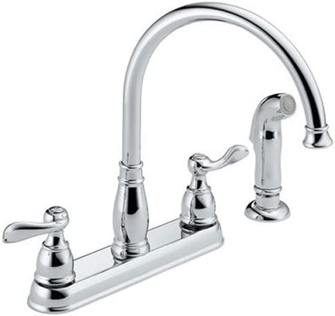 Delta Faucet Windemere 2-Handle Kitchen Sink Faucet with Side Sprayer in  Matching Finish, Chrome 21996LF
