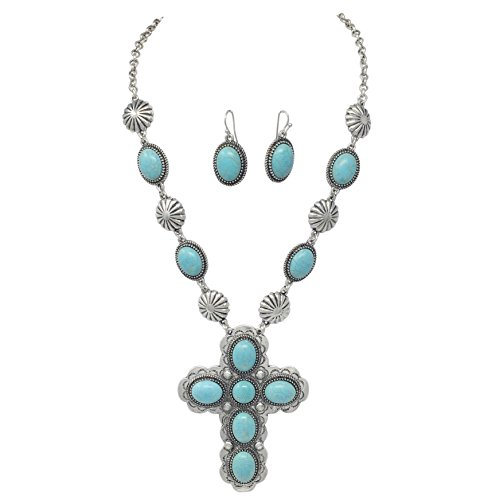 Simulated Turquoise Western Look Silver Tone Cross Necklace & Earrings Set (Oval Stones)