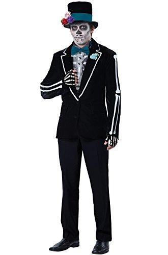 Men's Day Of The Dead Costume (California Costumes Men's El Novio Muerto, Black/Turquoise, X-Large)