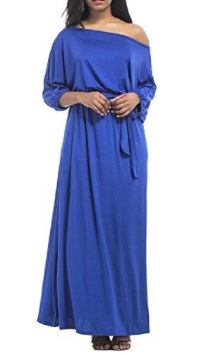 Comfy Shoulder Dress Royal Blue Slim Solid Long Longline Off Women Sleeve AAqp5wr