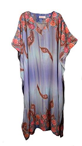 (15064 femme Mousseline de soie Lilas avec bandoulière Imprimé Floral et bordure & Kaftan. Taille unique convenant à tous : -UK 10 à 32.