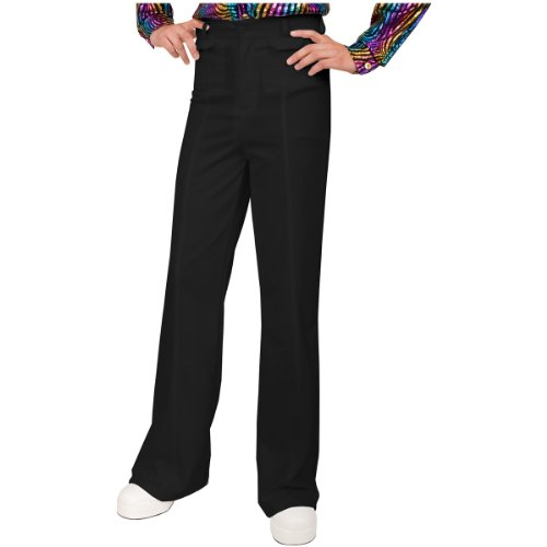 [Charades Men's Disco Pant, Black, 36] (Black Men Halloween Costume)