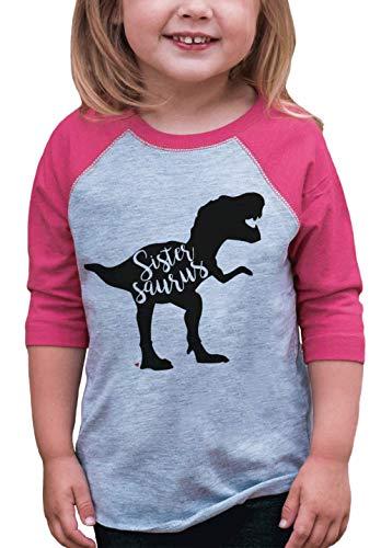 7 ate 9 Apparel Girls Sistersaurus Dinosaur Pink Baseball Tee