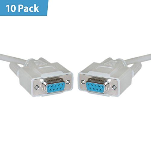 10 Pack - DB9 Female Serial Cablec DB9 Femalec UL ratedc 9 Conductorc 1:1c 6 foot - M/F Modem Lan Usb Port Extension Converter Charger Straight Wire