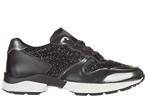 Tod's scarpe sneakers donna in pelle nuove sportivo allacciato active nero