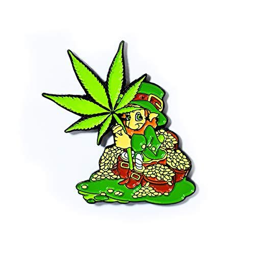 Lucky Green Leaf Leprachaun Enamel Pendant Lapel Hat Pin]()