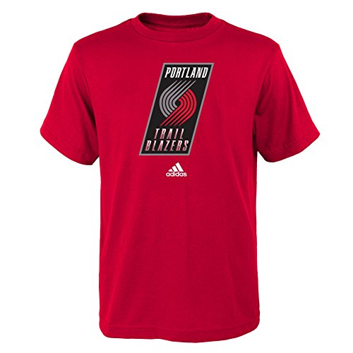 fan products of NBA Portland Trail Blazers Boys Youth Full Primary Logo Short Sleeve Tee, Medium (10-12), Red