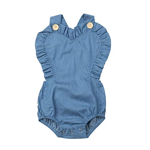 Goocheer Cute Infant Newborn Baby Girls Ruffles Denim Rompers Cross Back Bodysuit Outfits (0-6 Months, Blue)