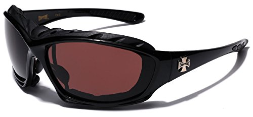 Oversized Choppers Men's Sport Padded Motorcycle Bikers Sunglasses BLACK BROWN ()