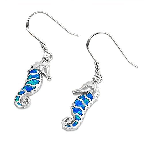 Lab Created Opal Seahorse French Wire Fish Hook Earrings 925 Sterling Silver Womens -Blue