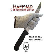 Kaffyad Level 5 Cut Resistant Kitchen and Work Safety Gloves. Size Medium and Large. Bundle - 2 pairs included, one Large and one Medium.