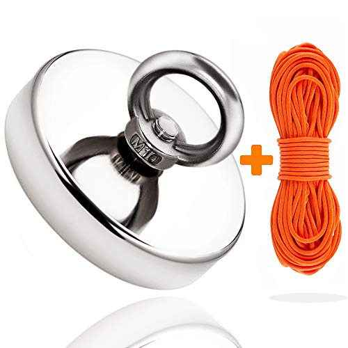 Super Strong Fishing Magnet | 350 lbs Pulling Force Rare Earth Neodymium Magnet with Countersunk Hole and Eyebolt | Diameter 2.36 inch (60mm) with 100 feet Rope | for River and Magnetic Fishing