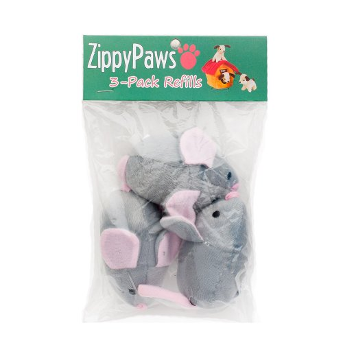 ZippyPaws 3-Pack Squeaky Replacement Burrow Toys for Dogs, Medium, Mice