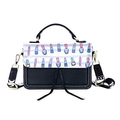 ag Lipstick Beauty Makeup Colorful Print Shoulder Bag Top Handle Tote Flap Over Satchel Purses Crossbody Bags Messenger Bags For Women Ladies ()