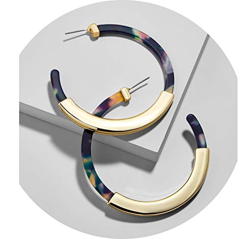 TOKO Acrylic Resin Hoop Earrings, Tortoise Shell Resin Hoop Earrings Statement Earrings for Women Girls (Blue Gold) ()