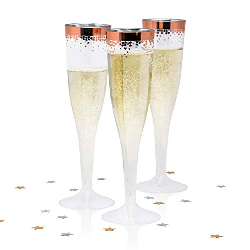 Rose gold plastic champagne flutes (60 pack) Disposable, clear plastic toasting glasses, 6.5 oz champagne flute - Wedding & party cups for champaign, wine or mimosa - Bulk order tossware ()