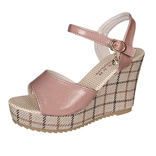 (MmNote Women Shoes, Women's Peep Toe Ankle Strap Buckle Espadrille Wedge Sandals Faux Leather Summer Shoes Pink)