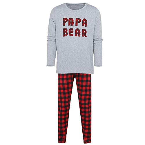 (Seaintheson Family Matching Christmas Pajamas Set, Xmas Letter Print Top and Plaid Pants Sleepwear Nightwear Homewear Outfits)