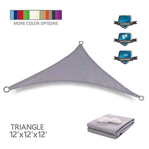 Tuosite Terylene Waterproof Sun Shade Sail UV Blocker Sunshade Patio Equilateral Triangle Knitted 220 GSM Block Fabric Pergola Carport Awning 12' x 12' x 12' in Color Grey
