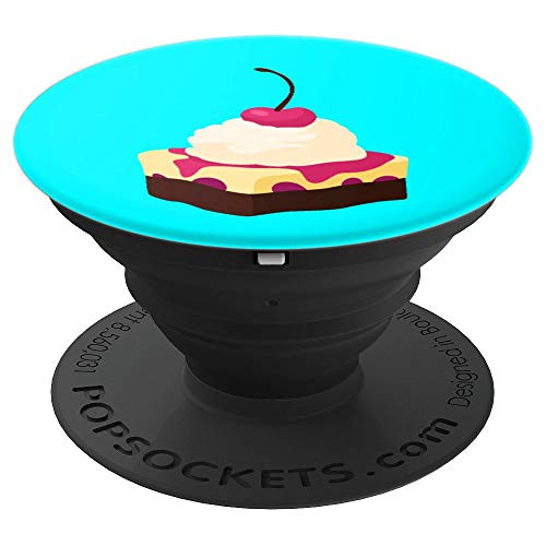 Turquoise Food Lovers Pudding Pie Dessert Tart Blue - PopSockets Grip and Stand for Phones and Tablets
