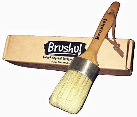 Solid Wood Home Decor Wood Furniture Painting Projects Box Included Brushul 2 Round Natural Boar Hair Bristles 9 Length Premium Chalk /& Wax Paint Brush