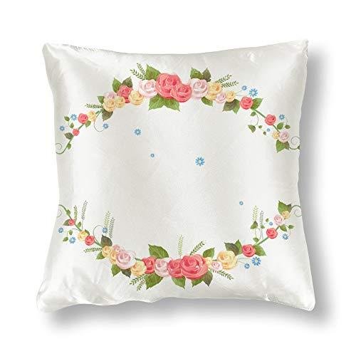 "KAtube Satin Square Floral Decorative Throw Pillow Floral Cantos Clipart Desenho Transparente Imagens De Flores para Convites Pillow Case 18"" X 18"" Square Cushion Cover"