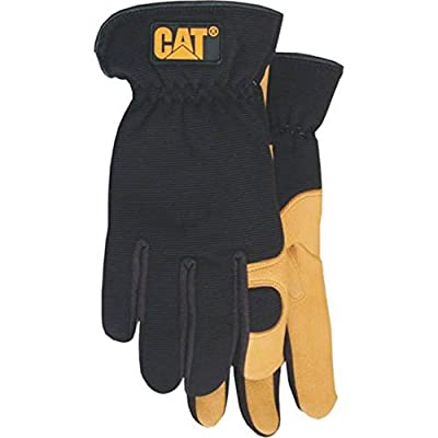 CAT Premium Black/Tan Leather Palm Work Gloves With Gel Padded Palm