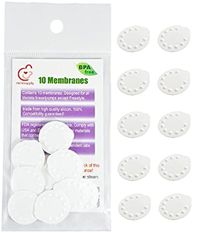 NeneSupply 10 Count Membranes for Medela Breastpumps (Pump In Style, Swing, Lactina, Symphony, Mini Electric, and Harmony). Designed to use with Medela Valves and NeneSupply Valves. Replaces Medela Membrane. Can Be Sanitized with Medela Micro-Steam (Symphony Membrane)