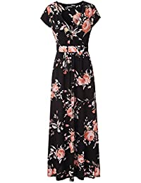 Zattcas Womens V Neck Floral Maxi Dress Summer Casual...