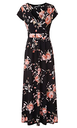 Zattcas Womens V Neck Floral Maxi Dress Summer Casual Pocket Maxi Long Dress (X-Large, Black)
