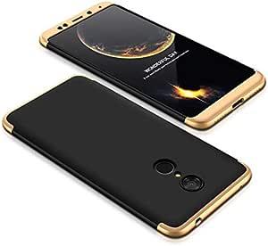 Xiaomi Redmi 5 Case, ultra Slim Gkk 360 Protection Cover Case - Black & Gold