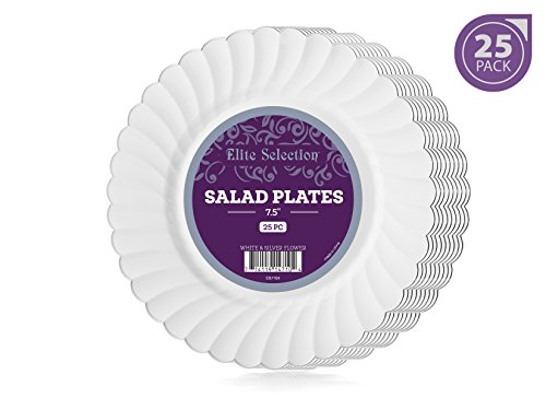 Elite Selection Pack Of 25 White Salad / Dessert Disposable Party Plastic Plates With Silver Flower Rim 7.5-Inch (Rim Bowl Flowers Soup)