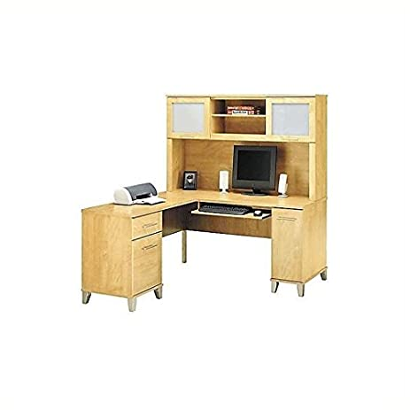 Bush Furniture Somerset L Shape Wood Computer Desk With Hutch In Maple Cross