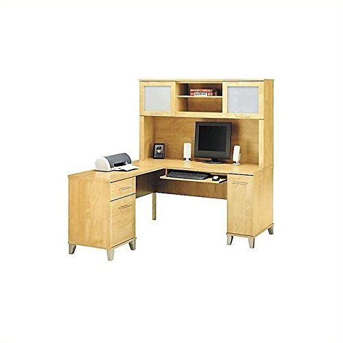 Bush Furniture Somerset L-Shape Wood Computer Desk With Hutch in Maple Cross