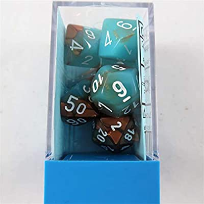 Chessex Lab Dice 3: Gemini 7Pc Copper-Turquoise/White, Multi-Colored: Toys & Games