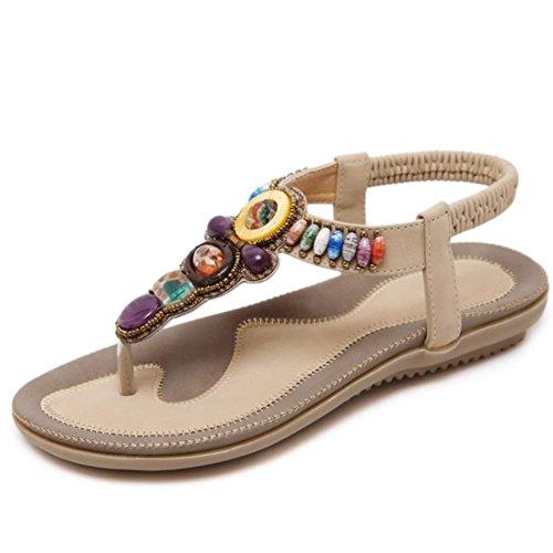 FANIMILA Moda Mujer Basic Bohemian Clip Toe Tacon Bajo Flip Flop Sandalias Albaricoque