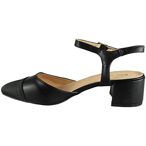 Loud Look New Womens Ladies Strappy Ankle Mid Heel Office Work Wedding Party Shoes Size 3-8 Black c3kN1C