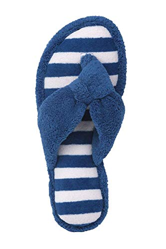 Beverly Womens Rock Cobalt Embroidered Cotton Terry Slipper Plush Sandal Spa Blue Thong rqrg5