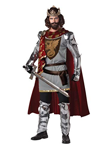 California Costumes Men's King Arthur Adult, Silver/Red,