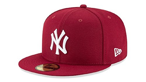 New Era 59Fifty MLB Basic New York Yankees Fitted Burgundy Headwear Cap (7 3/8)